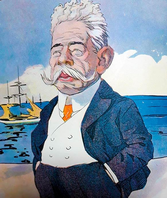 Caricatura del gobernador Carlos Bouquet Roldán, publicada por la revista Caras y Caretas en 1903