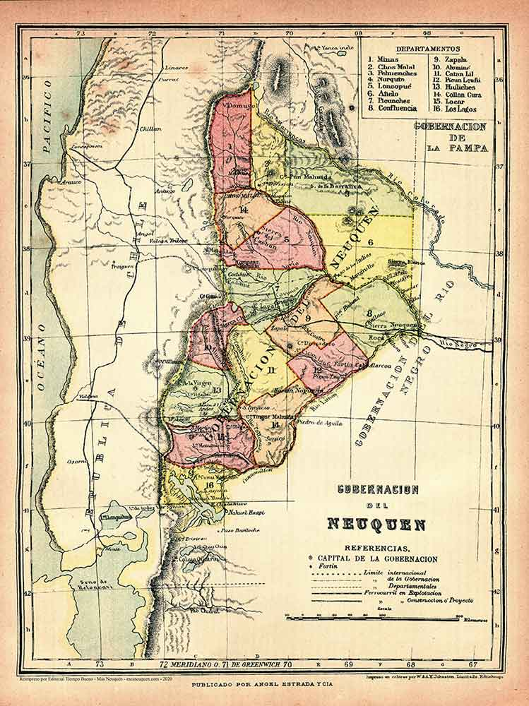Mapa de la Gobernación del Neuquén de 1926, publicado por editorial Angel Estrada