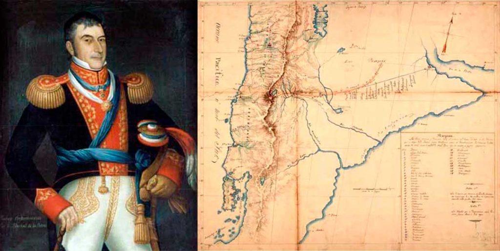 Izquierda: retrato de Don Luis de la Cruz y Goyeneche. Derecha: Mapa levantado por Luis de la Cruz y Goyeneche en 1806 y entregado con parte de su diario a las autoridades coloniales del Rio de la Plata.