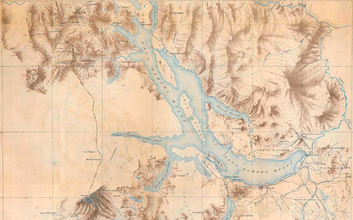 Mapa Topográfico de la cordillera de los Andes - Nahuel Huapi - 1914 - De la comisión de estudios hidrológicos dirigida por Bailey Willis.