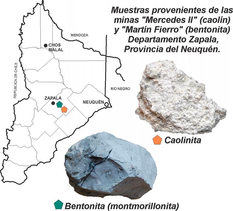 Muestras de Caolinita y Bentonita de minas neuquinas del Departamento de Zapala.