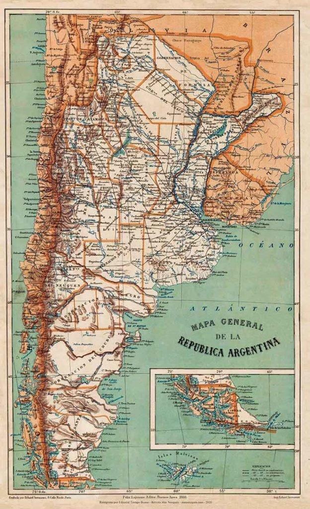 Mapa de la República Argentina, editado en 1888 por Felix Lajouane, impreso en la imprenta de Erhard hermanos.