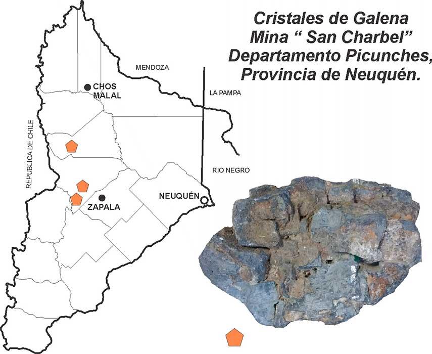 Cristales de galena - Mina San Charbel - Departamento Picunches - Provincia de Neuquén.