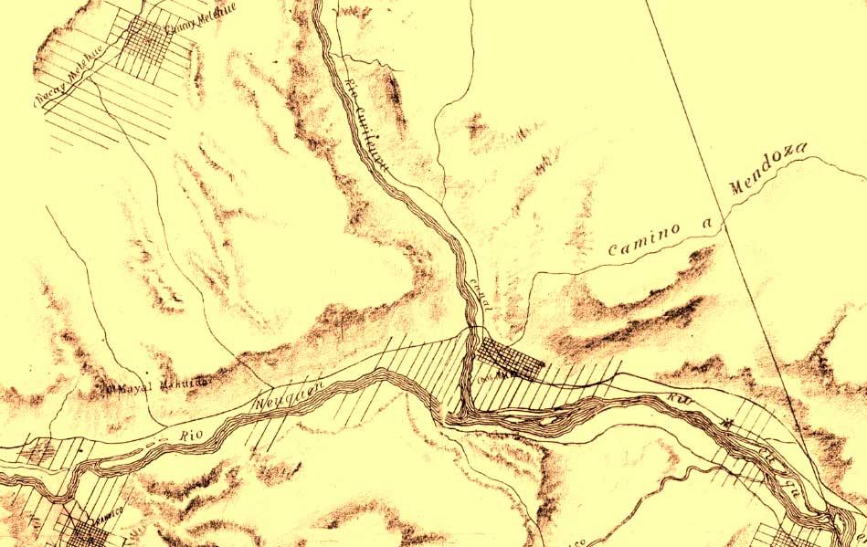 Plano topográfico de Chos Malal y alrededores realizado por Manuel Olascoaga