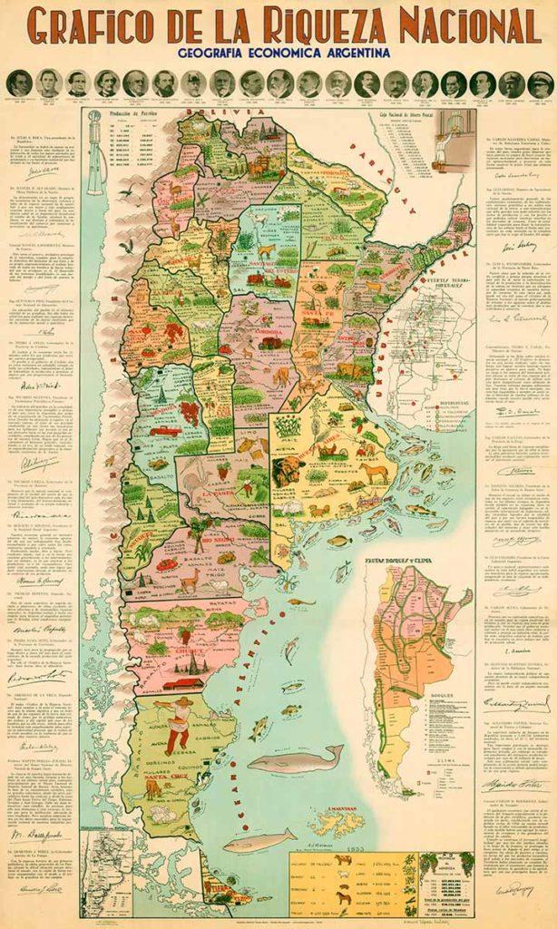 Mapa histórico de la Republica Argentina, con información y gráficos que muestran datos económicos hasta el año 1933.