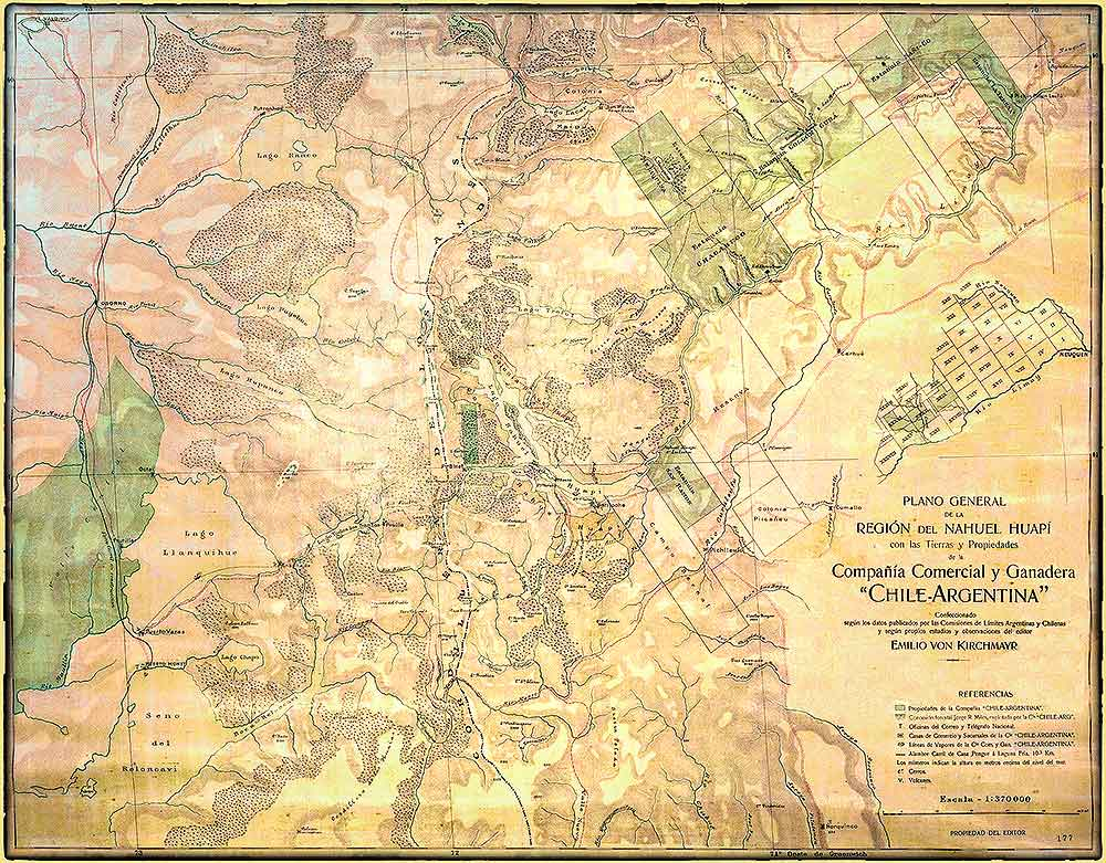 """Plano general de la región del Nahuel Huapi (1909) con tierras y propiedades de la Compañía Comercial y Ganadera """" CHILE - ARGENTINA"""""""