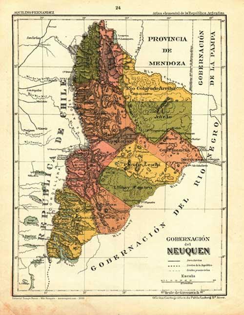 Mapa de la gobernación del Neuquén - Año 1909