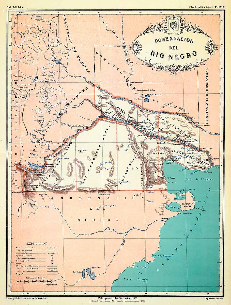 Mapa de la Gobernación de Río Negro en 1887 - reeditado en 1888, del Atlas Geográfico de la República Argentina, de Mariano Felipe Paz Soldán Buenos Aires - Librería de Felix Lajouane - 1887