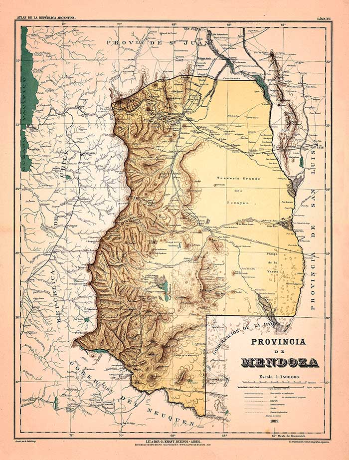 Mapa de la provincia de Mendoza - 1889