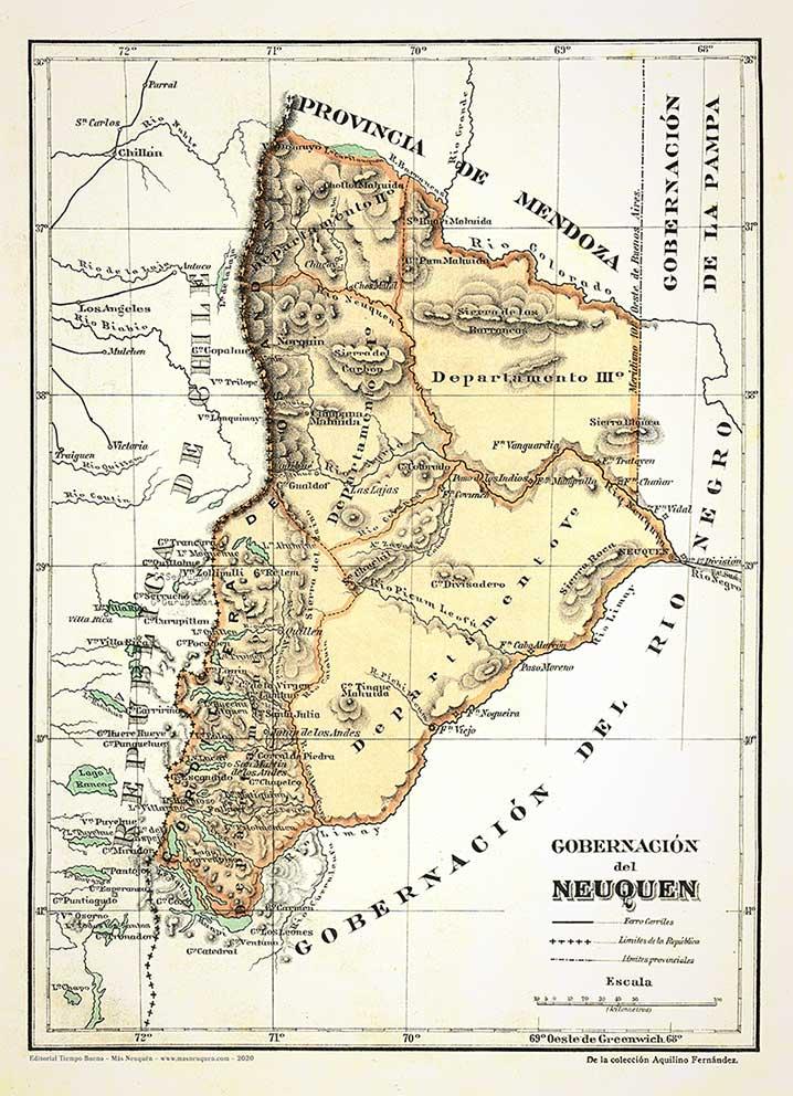 Mapa de la Gobernación del Neuquén tomado de una lámina, de la colección de Aquilino Fernández. Posiblemente 1896/7