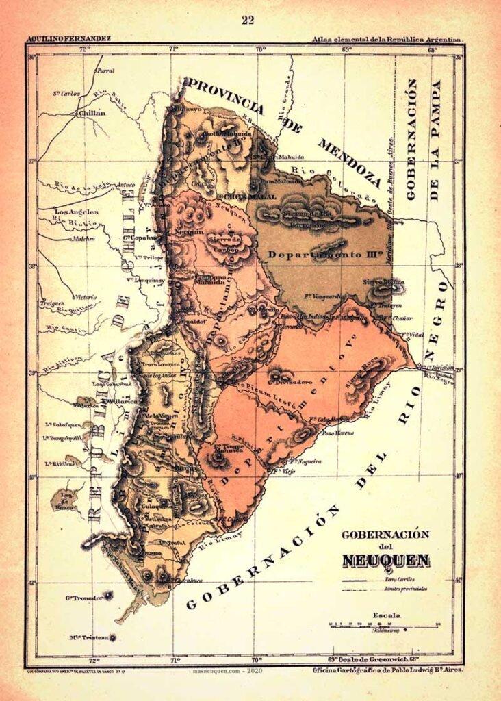 Mapa de la gobernación del Neuquén – Año 1898
