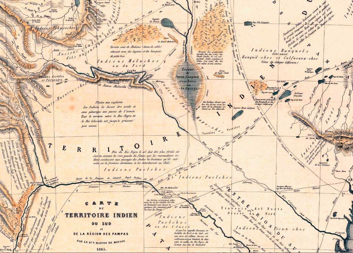 Carte, Territoire Indien du Sud, Region des Pampas (Mapa, Territorio Indio del Sur, Región Pampeana)