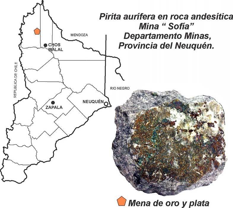 Pirita aurífera en Neuquén, Mina