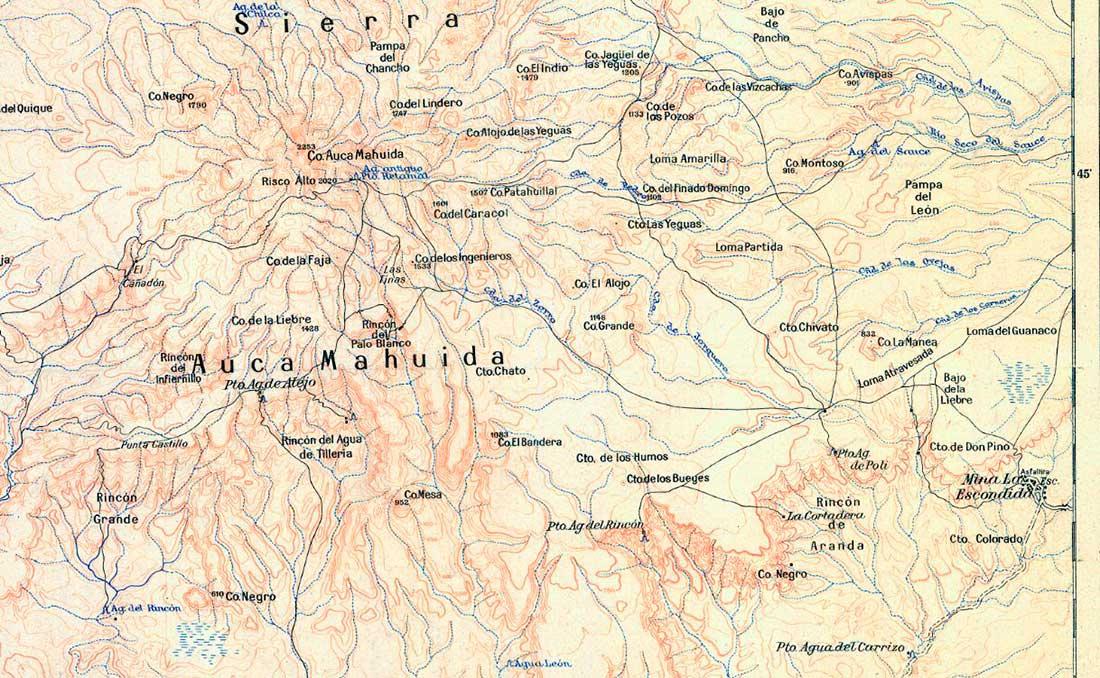 Plano topográfico – Auca Mahuida – 1945 – volcán y pueblo