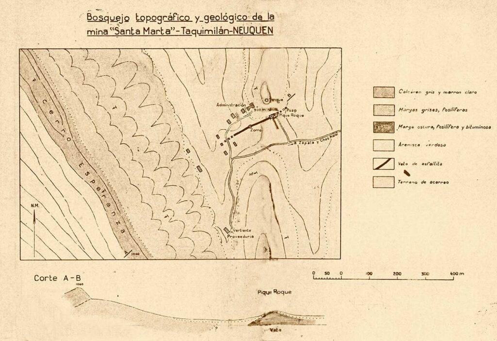 Bosquejo topográfico y geológico de la mina Santa Marta - Taquimilán - Neuquén