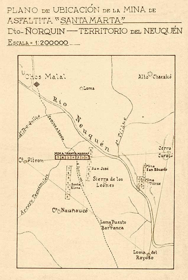 """Plano de ubicación de la mina de asfaltita """"Santa Marta""""."""