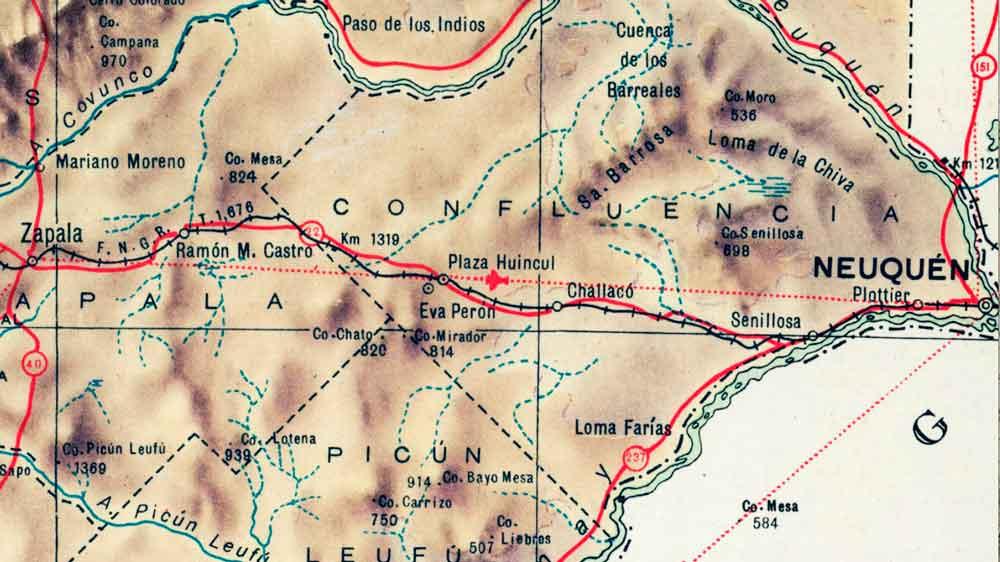 Mapa de la Gobernación del Neuquén – 1953