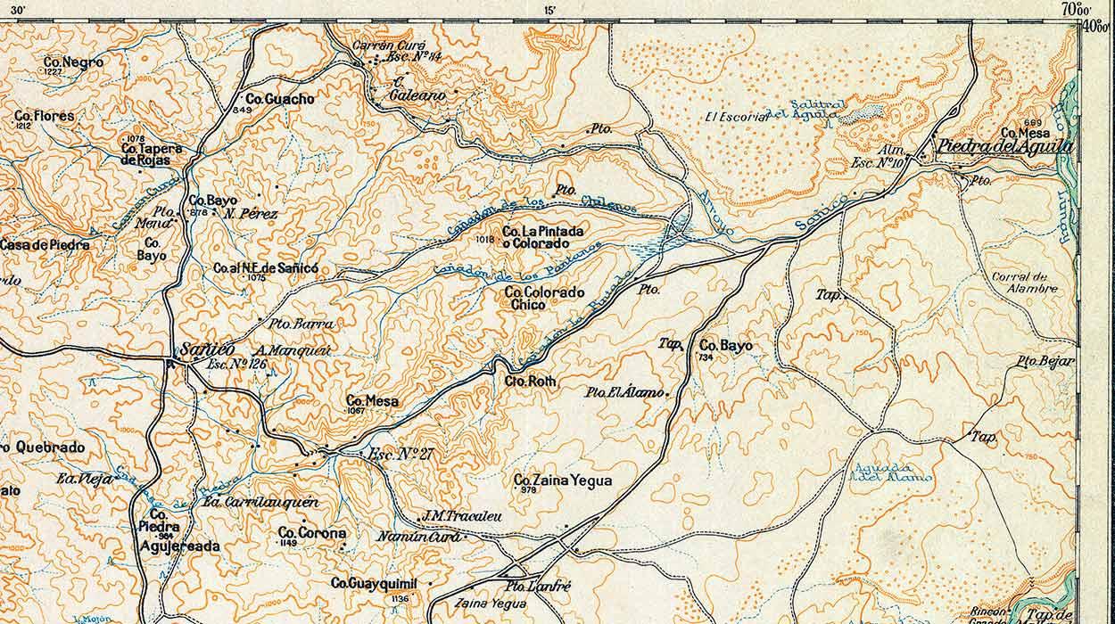 Plano topográfico – Piedra del Águila y Sañicó (antigua capital del departamento Piedra del Águila) - 1951