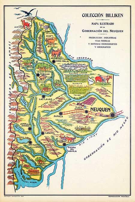 Mapa ilustrado de la Gobernación del Neuquén – Revista Billiken, 1933