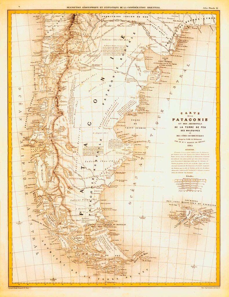 Mapa de la Patagonia, Tierra del Fuego y Malvinas - Víctor Martín De Moussy - 1873