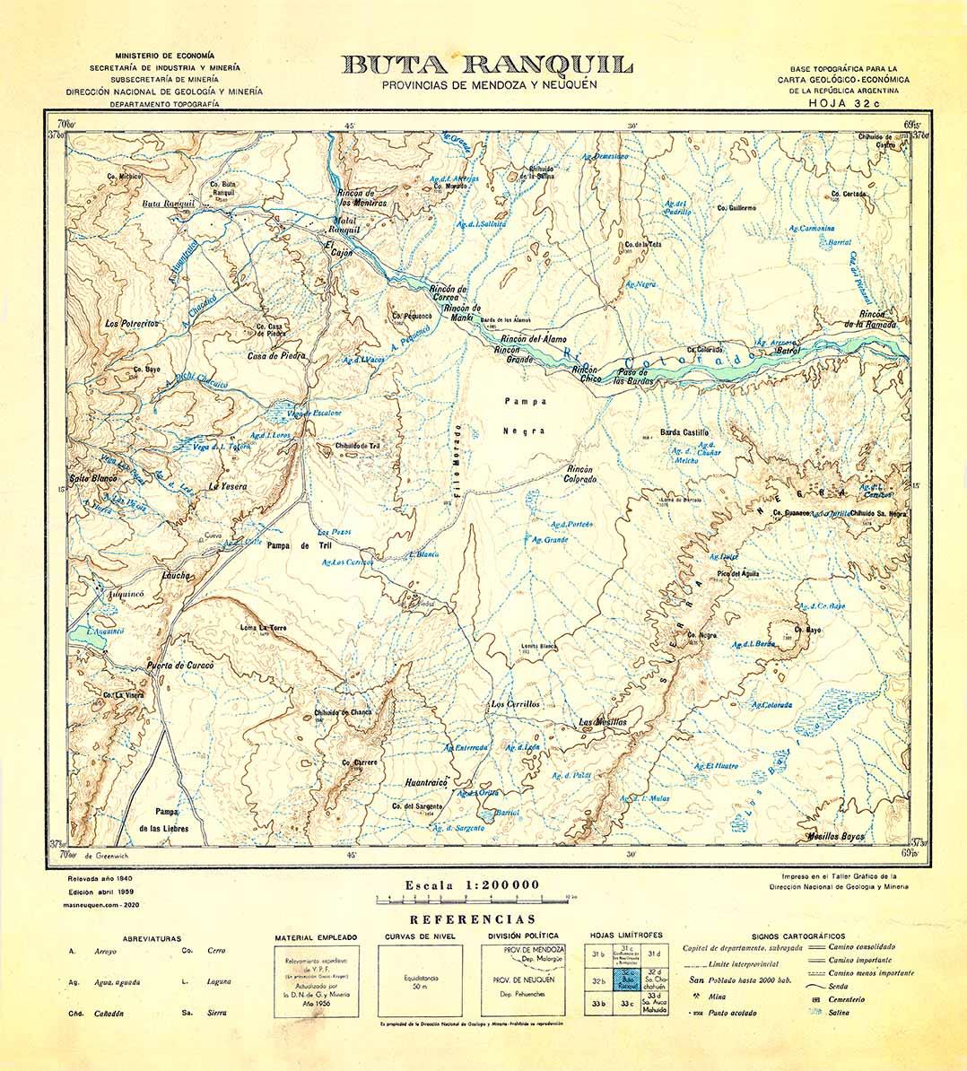 Plano topográfico – Buta Ranquil – 1940 - Territorio del Neuquén
