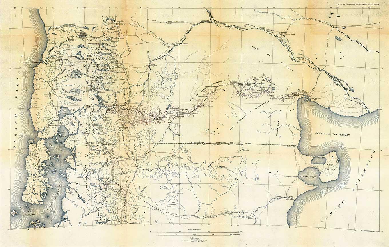 Mapa de la Patagonia Norte, elaborado por la comisión de estudios hidrológicos dirigida por el geólogo norteamericano Bailey Willis, publicado en su obra El norte de la Patagonia (1914)