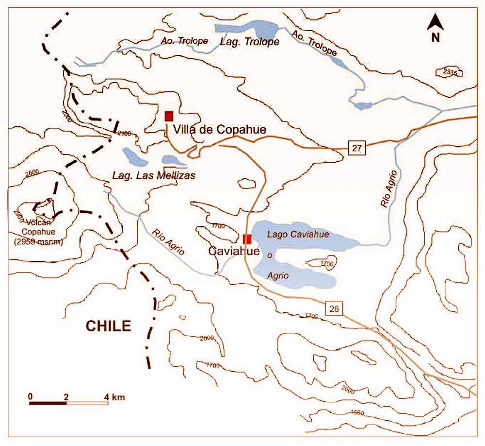 Esquema de ubicación de Caviahue - Copahue.