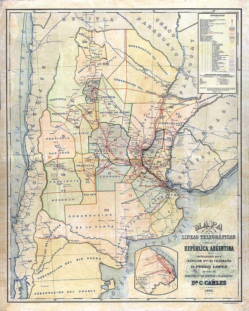 Mapa de las líneas telegráficas de la República Argentina de 1896