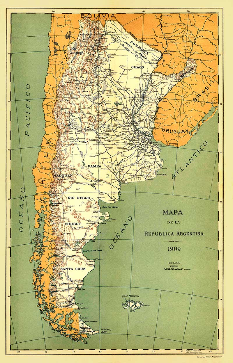 Mapa del Taller de la Oficina Meteorológica Nacional de la República Argentina, del año 1909. Muestra los accidentes geográficos, ríos y vías férreas del país.