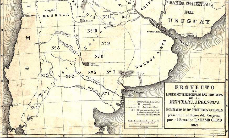 Mapa de la Argentina - 1869 - Proyecto de límites de territorios y provincias