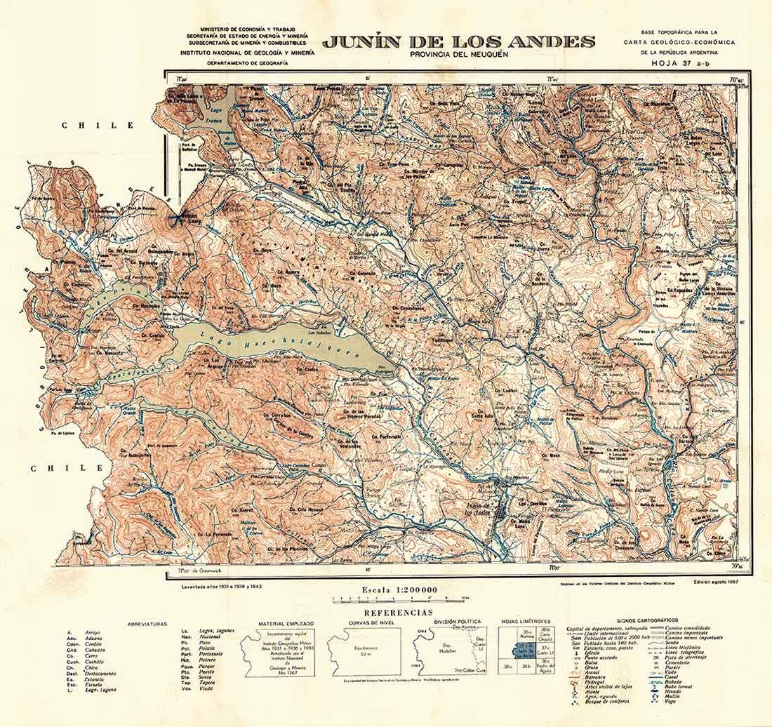 Plano topográfico – Junín de los Andes - 1967