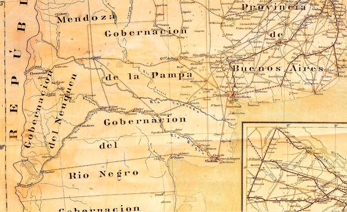 Mapa de Ferrocarriles, Telégrafos y Correos de la República Argentina de 1889