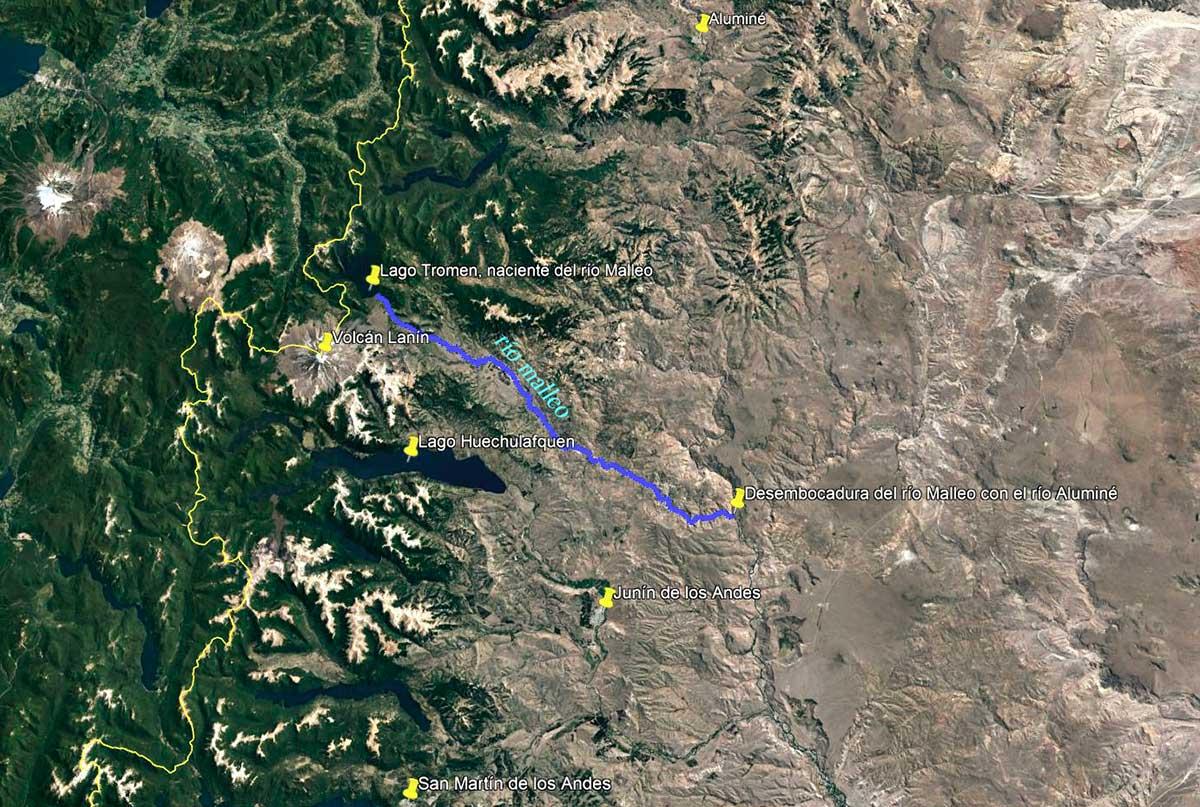 Imagen satelital - Ubicación del río Malleo.