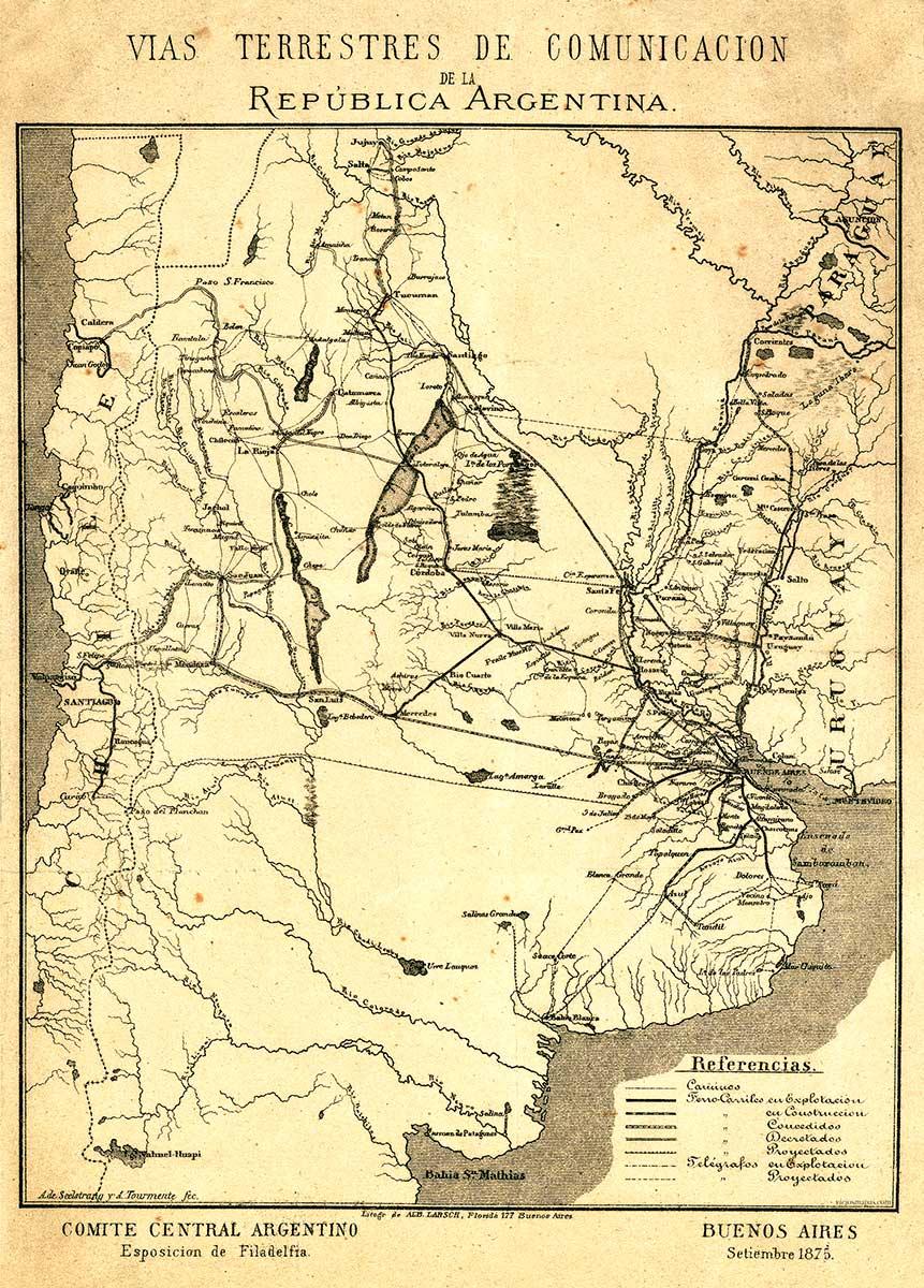 Mapa de la República Argentina – Exposición Universal de Filadelfia de 1876 – Vías de Comunicación