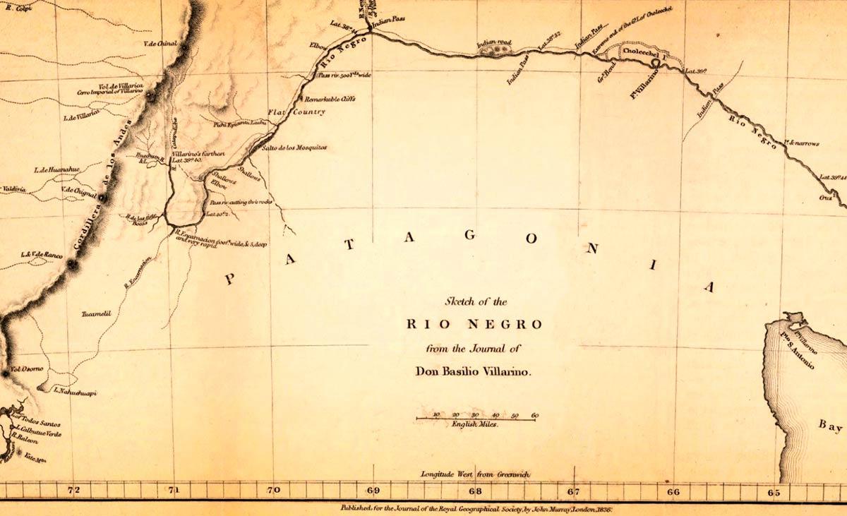Plano del Río Negro del diario de Basilio Villarino, publicado en 1836