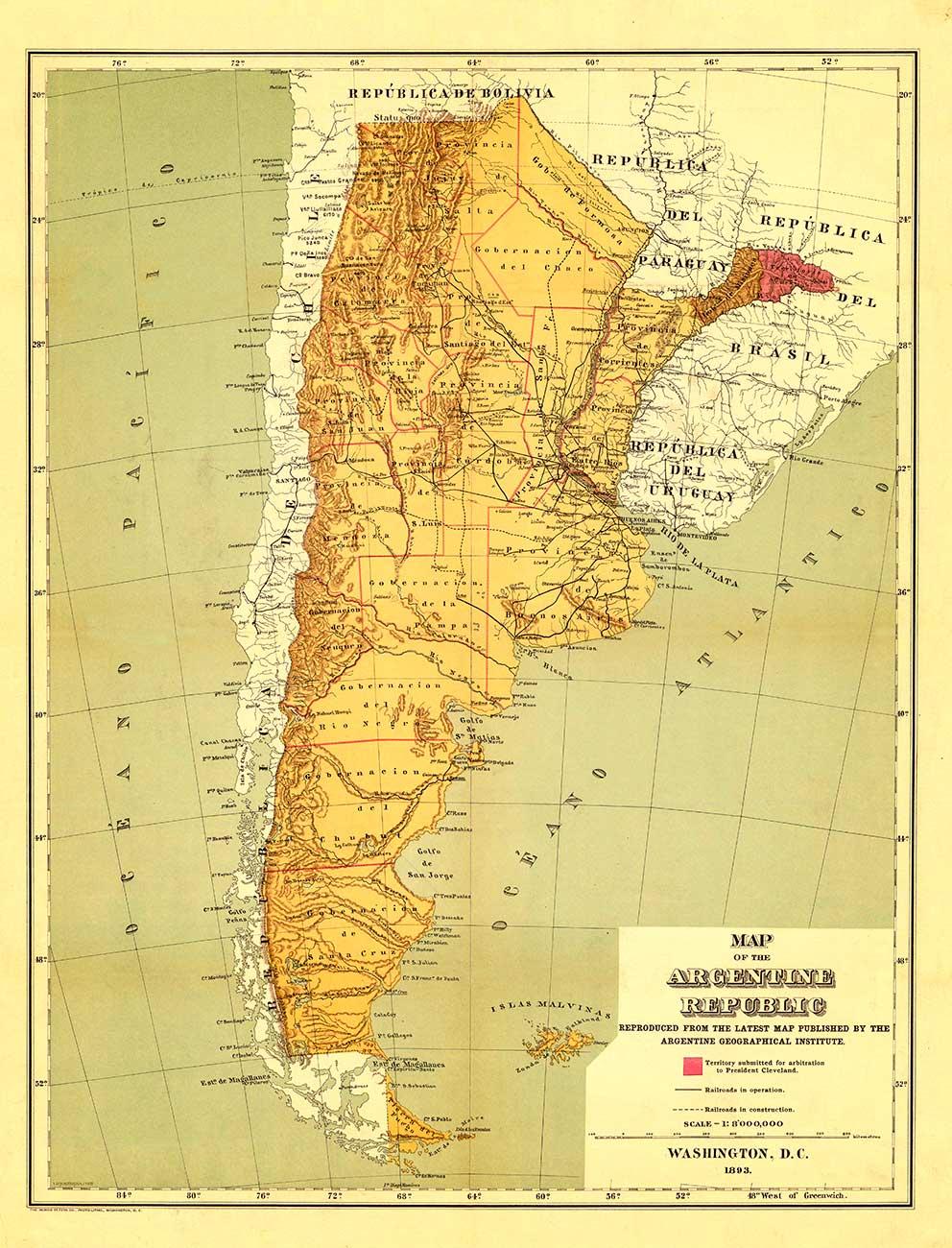 Mapa de la República Argentina – 1893