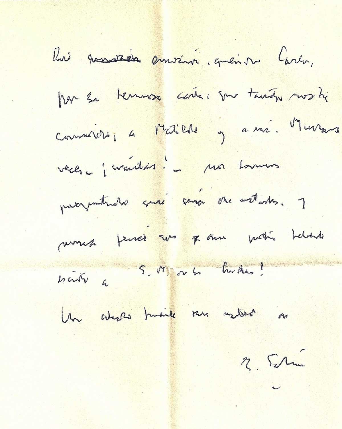La carta manuscrita de Sabato a Carlos Lozada Acuña.
