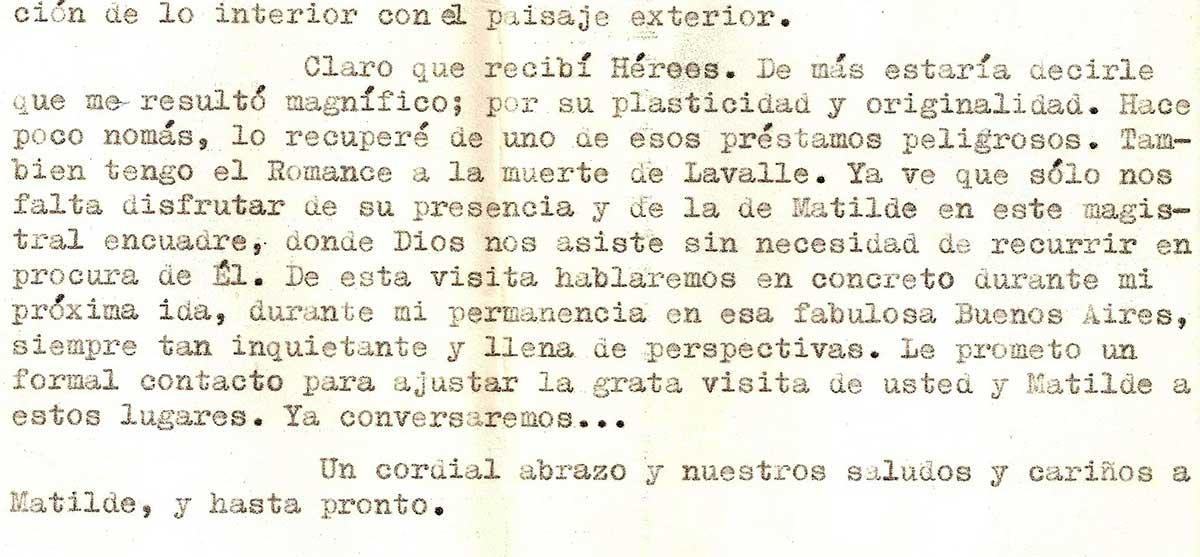 Fragmento de la respuesta de Lozada Acuña donde confirma haber recibido los envíos de Sabato.