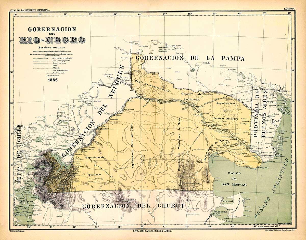 Mapa del Territorio Nacional de Río Negro de 1886