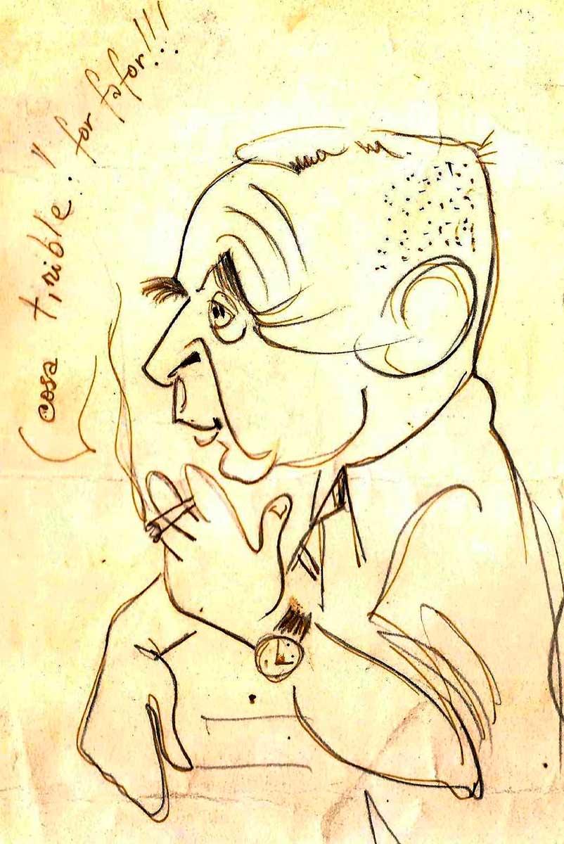 Caricatura de Don Sergio (¿el autor será Pedro Plansöen?) que atesora la familia Gentili.