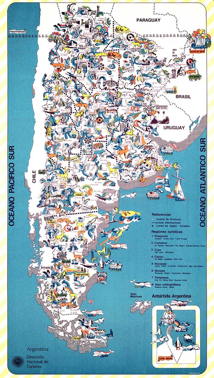 Mapa de la República Argentina Ilustrado – 1970