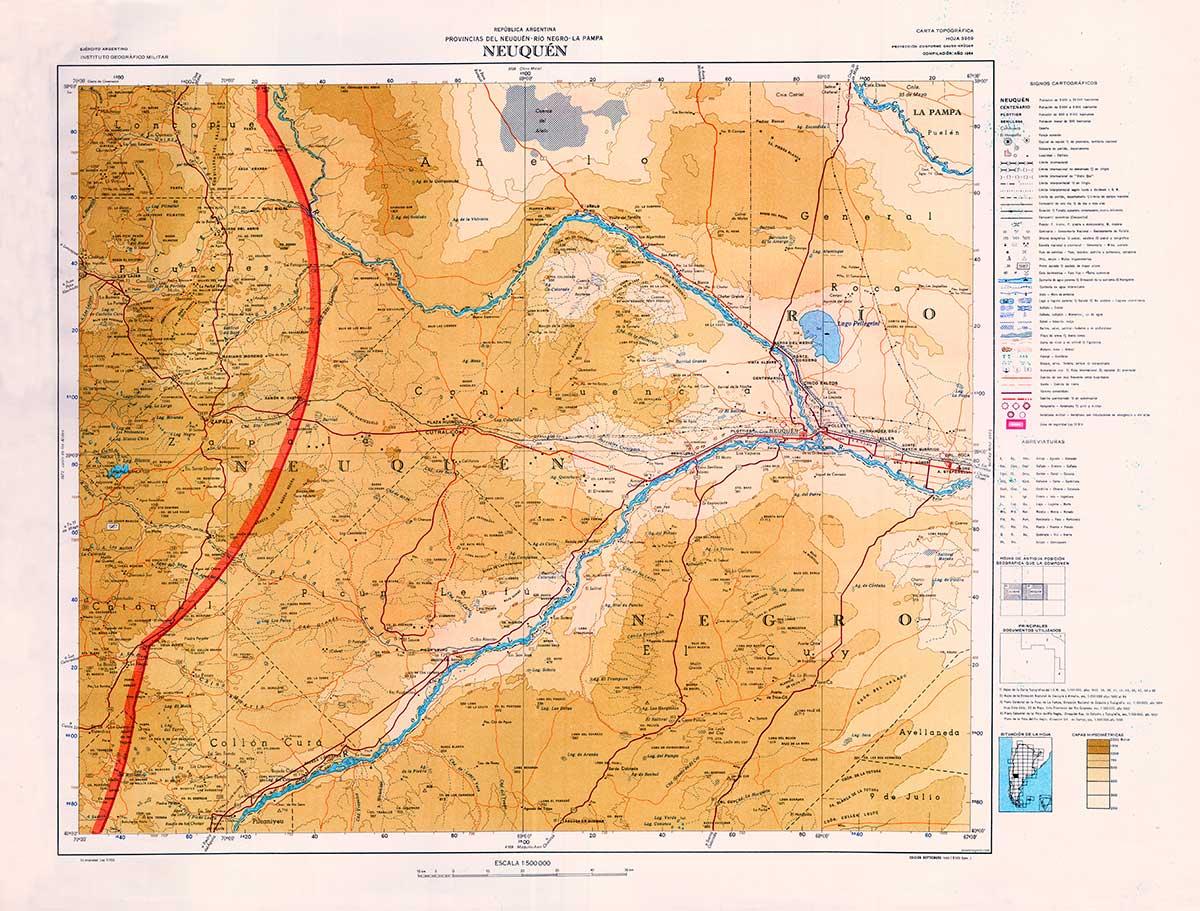 Mapa de la zona central de Neuquén - 1965 - Departamentos Confluencia, y partes de Collón Curá, Zapala, Añelo, Catan Lil y Picunches