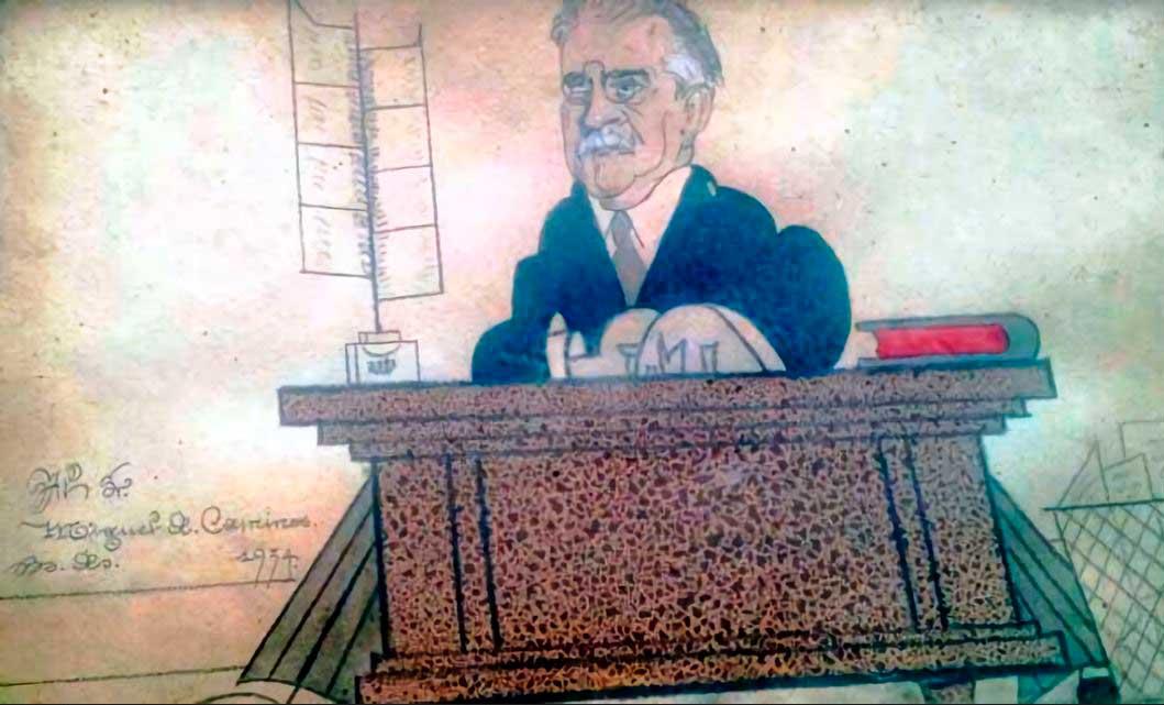 Caricatura del poeta, propiedad familiar. Foto aportada por Mariana Camino