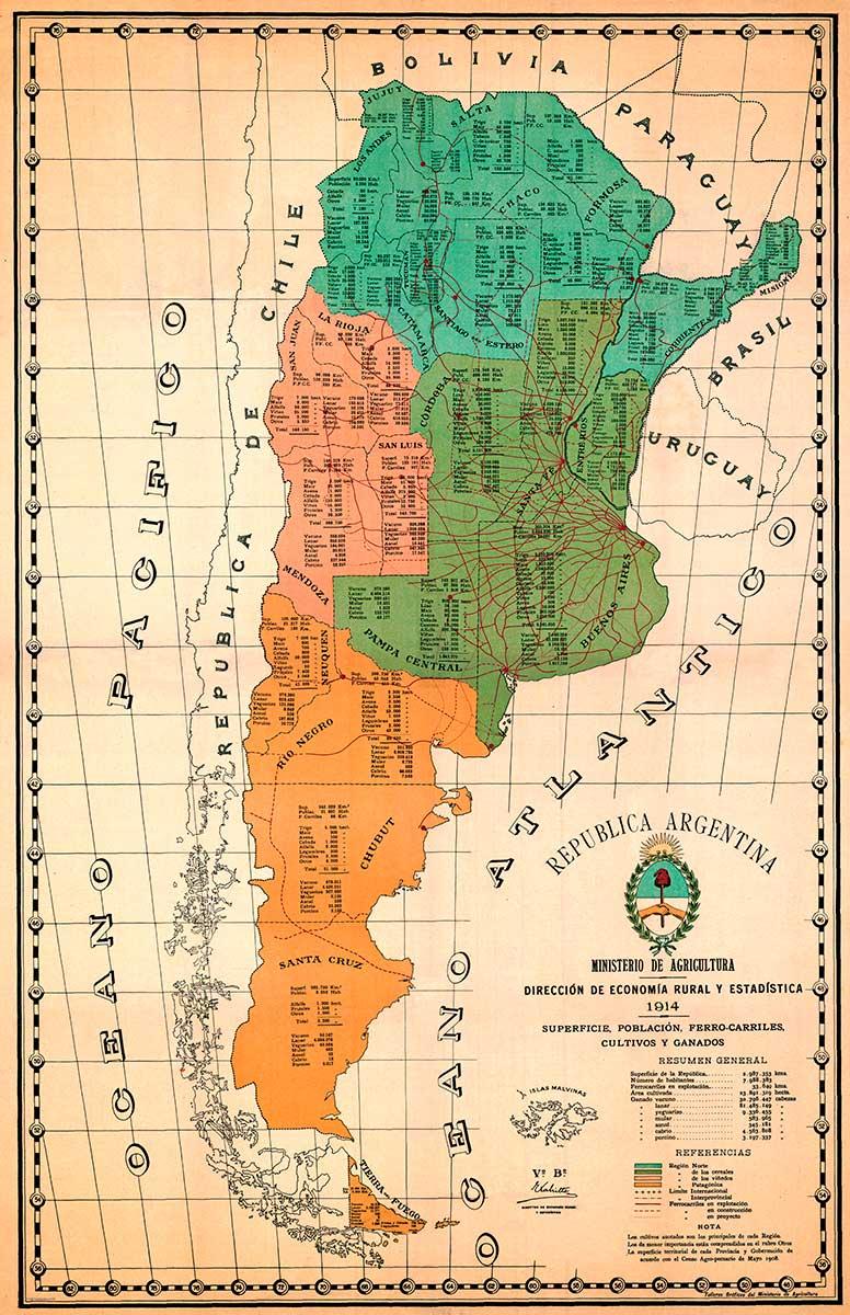 Mapa económico de la República Argentina de 1914