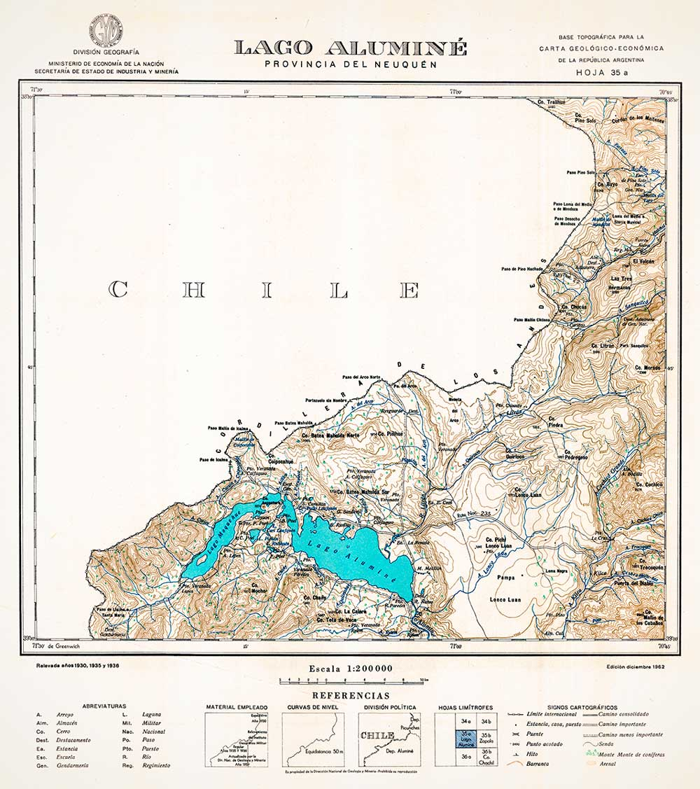 Plano topográfico - Lago Aluminé - 1962
