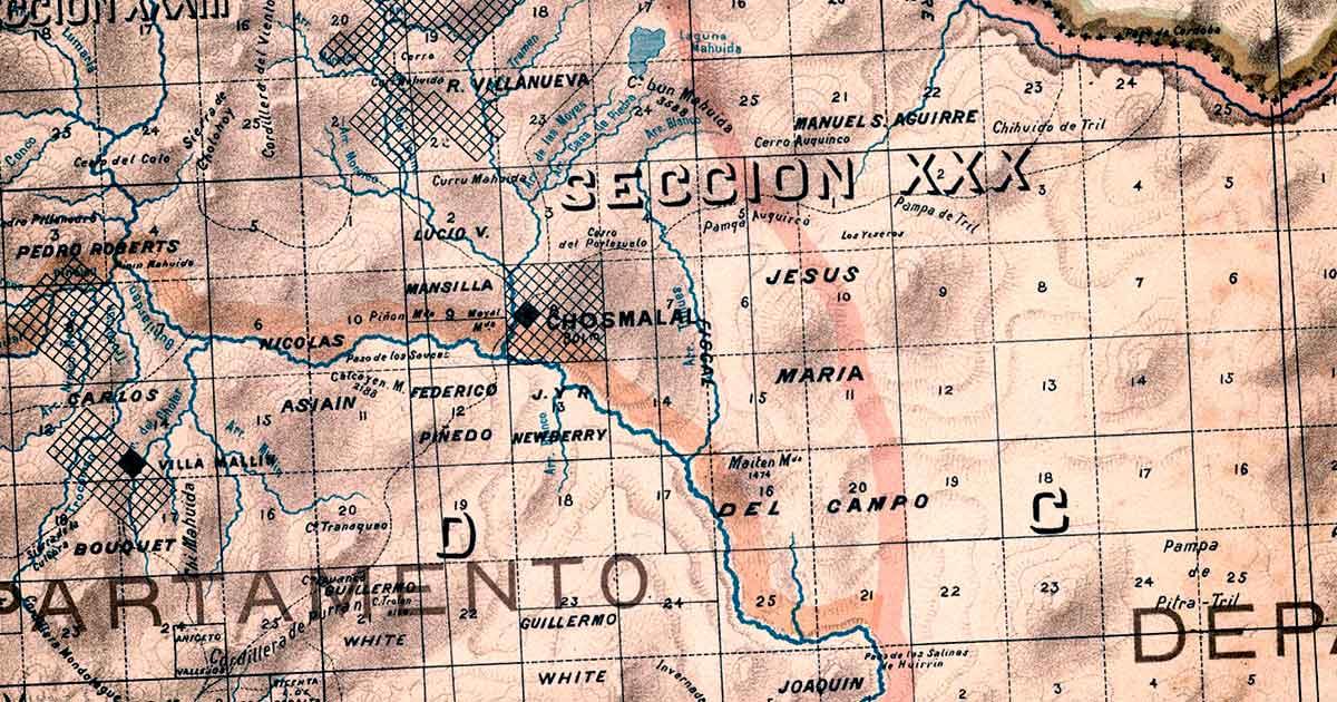 Plano Catastral del Norte Neuquino, del año 1905.