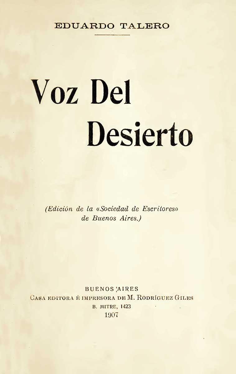 Voz del desierto - Eduardo Talero