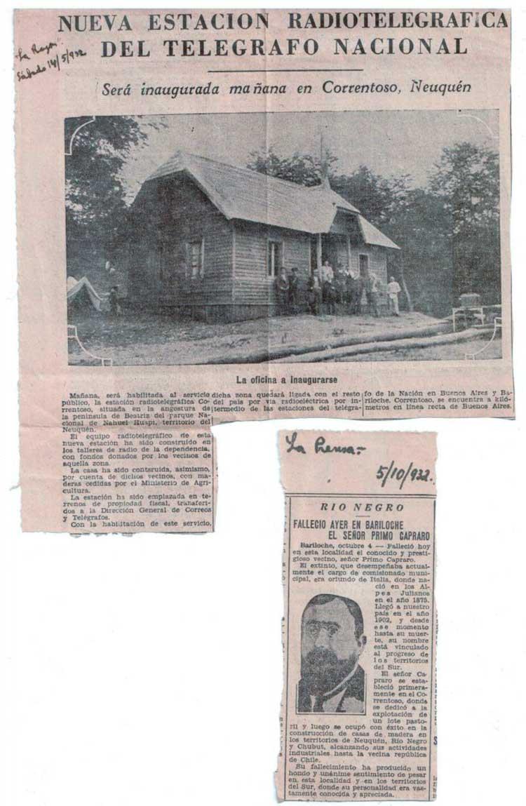 Artículo periodístico sobre la inauguración del edificio de la Estación Radiotelegráfica en Paraje Correntoso - 1932